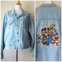 90s Disney Denim Jacket -- Mickey Mouse, Goofy, Donald Duck & Crew! Trendy Hipster Grunge Chic Fashion