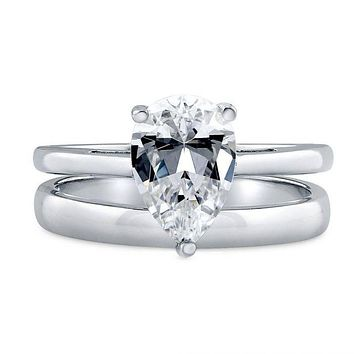 A Perfect 1.9CT Pear Cut Solitaire Russian Lab Diamond Bridal Set