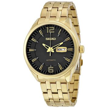 Seiko Recraft Automatic Black Dial Gold-tone Mens Watch SNKN48
