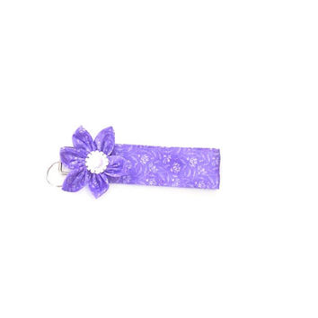 Key Chain, Purple fabric wristlet, Key Fob  matching Kanzashi Flower with pearl and rhinestone accent  center