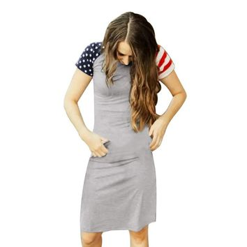 USA American Flag Print Long Dress