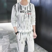 Mens Fashion Tracksuit Men Set Conjunto Masculino Casual Sweat Suits Men Print Stripe Pullover Men Tracksuit Chandal Hombre