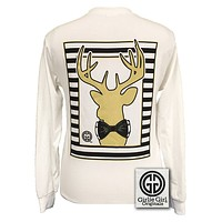 Girlie Girl Originals Collection Preppy Gold Deer Country White Long Sleeves T Shirt