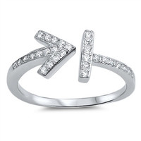 Sterling Silver CZ Simulated Diamond Arrow Split 8MM Ring
