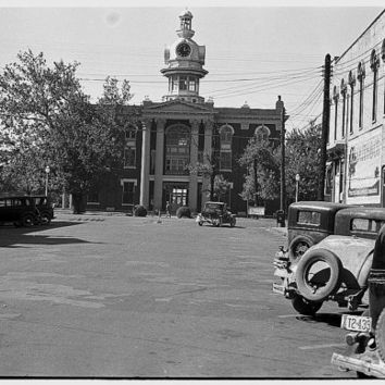 Old fireman in front of courthouse in Murfreesboro TN  -Antique-Vintage BW Reproduction Photograph. Frame it!