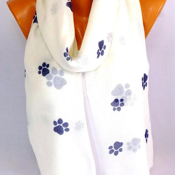 Scarf, Scarves, Shawl, Paw Print Scarf, Paws Pattern Scarves, Cat Paws Shawls, infinity scarf, Lightweight Summer Scarf, Gifts For Christmas