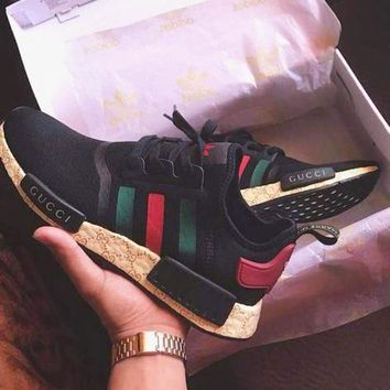 GUCCI X Adidas NMD Classic Fashion Women Men Casual Running Sport Shoes Sneakers Black I/A
