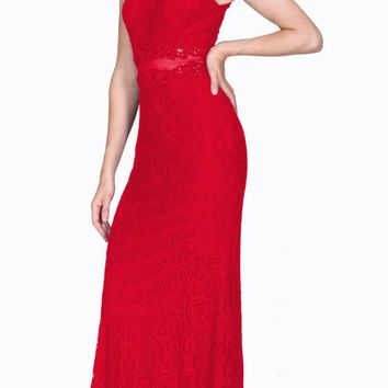 Sleeveless Mock Two-Piece Evening Lace Dress Red