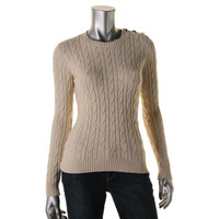Charter Club Womens Petites Metallic Cable Knit Pullover Sweater