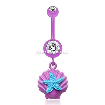 Ariel's Starfish Shell Belly Button Ring (Purple/Clear/Teal)