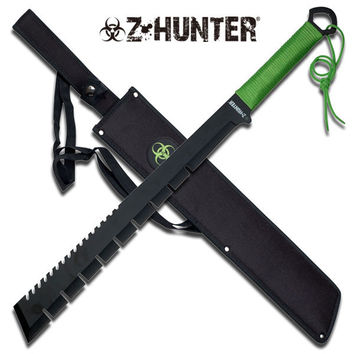 Z-Hunter 25 Inch Black Machete - Green Cord Wrapped Handle