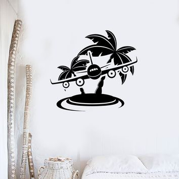 Wall Stickers Ocean Isle Beach Palm Airplane Travel Vinyl Decal Unique Gift (ig2410)