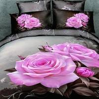 3D Blooming Pink Roses Cotton Luxury 4-Piece Bedding Sets/Duvet Cover