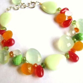 GIFT For Mom SALE, Luxe Gemstone Bracelet, Green Pink Orange Chalcedony, Peridot, Carnelian, Chrysoprase, Quartz, Sterling Silver