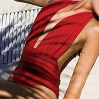 red one piece  Woman Designer High Fashion Poolside Beach Party Bathing suit Beachwear Swimwear Swimsuit Bikini hot style  = 6096042883