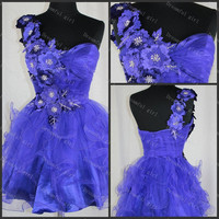 Cocktail dress Younger prom dresses Flowers Ruffle organza homecoming dress gratuation