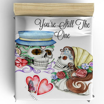 "Skull Bedding, Sugar Skull  Duvet Cover Set, ""You're Still The One"" Doona Cover"