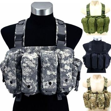 Military Camouflage Tactical Vest  Airsoft  Ammo Chest Rig AK 47 Magazine Carrier Combat