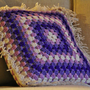 Purple Crochet Granny Square Throw Pillow - Ready to Ship