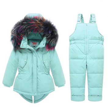 Colored Fur Hooded Coat and Overall Snow Jumpsuit