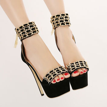 Women Metal chain Strap sexy high-heeled shoes sandals