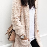 New Rice White Pockets Fur Furzzy Crop Long Sleeve Casual Going out Cardigan Sweater