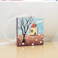 CIJ 15% OFF - Christmas Tree Ornament, Tree Decoration, House Art Acrylic Painting, Winter Art Decor with Gift Box