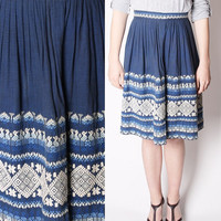 60s Ikat Ombre Aztec Blue Cotton Mexican Ethnic Embroidered Skirt / Cotton 50s Skirt / Blue Ethnic Skirt / Vintage skirts / 2288
