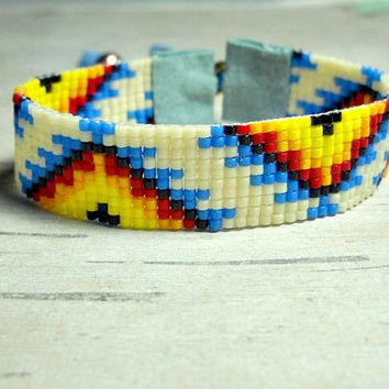 Bead Loom Bracelet - Tribal Design Bracelet - Womens Bracelet - Adjustable Bracelet
