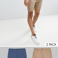 ASOS 2 Pack Slim Chino Shorts In Stone & Blue Save at asos.com