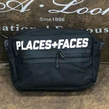Places & Faces Fashion new single shoulder bag oblique straddle bag couples wallet small waist bag Black