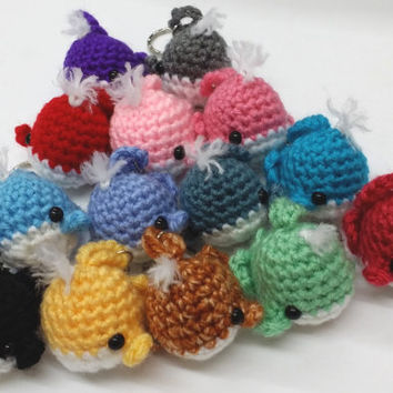 NEW COLORS! Very Cute Crochet Amigurumi Little Whale Keychain/Phone Charm.