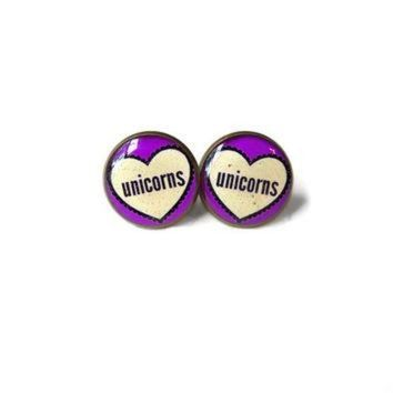ICIKHD9 Unicorns Conversation Heart Stud Earrings - Pastel Goth & Soft Grunge Funny Pop Cultur
