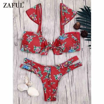 Zaful 2017 Women New Floral Print Banded Knot Bikini Set Sexy Low Waisted Floral Straps Swimsuits Summer Beach Women Swimwear