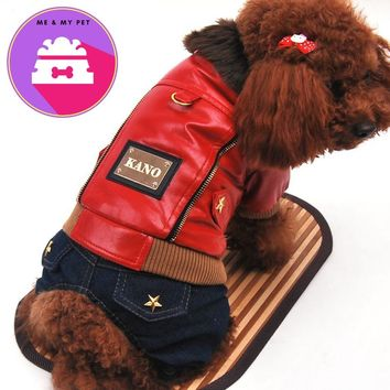 Leisure leather dog clothes winter pet clothes warm cotton coat Teddy VIP four thickening Jacket 2colors