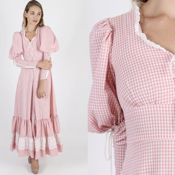 Gunne Sax Dress Boho Wedding Jessica McClintock Dress Prairie Dress Boho Dress Vintage 70s Pink Gingham Corset Hippie Prairie Maxi