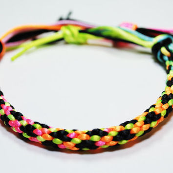 80's Neon & Black Varigated Kumihimo Bracelet by epicstitching