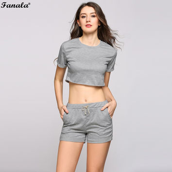 FANALA Summer SportSuit Women Casual Fitness 2017 Two Piece Set Crop Top and Drawstring Shorts