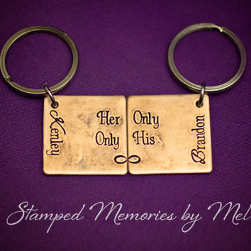Her Only, Only His - The Original - Hand Stamped Copper Keychain Set - Couple Key Chain Gift - Wedding, Anniversary or Birthday Present