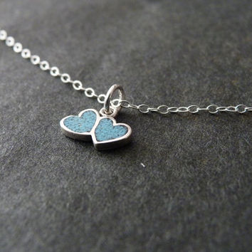 Turquoise Necklace, STERLING SILVER Jewelry, Two Hearts Necklace, Equality Necklace