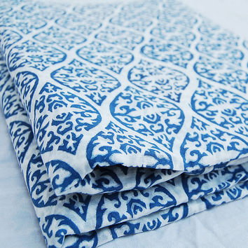 Traditional Indian Hand Printed Cotton Fabric by Yards Voile Art White Bleached Indigo Blue Wood Stamp Sewing Material Making Shirts/Dress