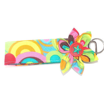 Key Chain, wristlet, Key Fob in Geometric print with  matching Kanzashi Flower with button center