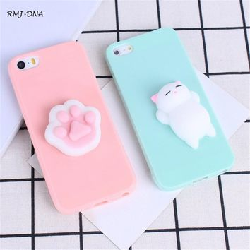 Squishy Soft 3D Phone Case For Iphone 6 6S Cute Cartoon Cat Panda Silicone Cases Cover For Iphone 7 Plus 7 6 6 5 5S SE Case Cove