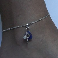Blue Sea Glass Anklet with Dolphin