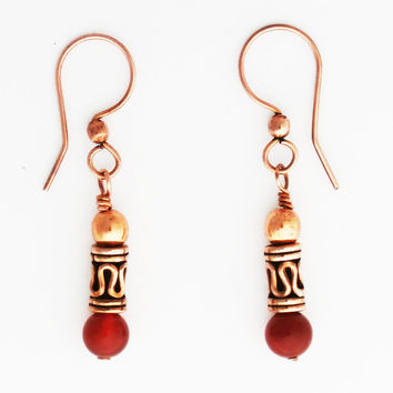 Copper Drop Style Beaded Earrings with Handmade Solid Copper Beads and Genuine Gemstone Beads