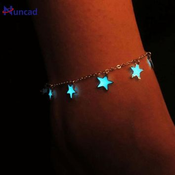 New Fashion Trendy Fluorescent Bracelets&Bangles Heart Star Shape Bracelets Glow In The Dark Bracelet For Women
