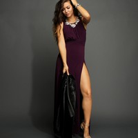 Sale-plum High Slit Maxi Dress