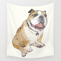 bulldog Wall Tapestry by Laura Graves