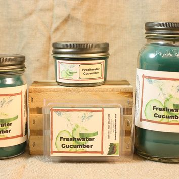 Freshwater Cucumber Candles and Wax Melts, Vegetable Scent Candle, Highly Scented Candles and Wax Tarts, Summertime Candle, Hostess Gift