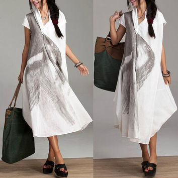 Irregular loose linen roll dyeing ethnic style dress / Summer piles collar short-sleeved dress